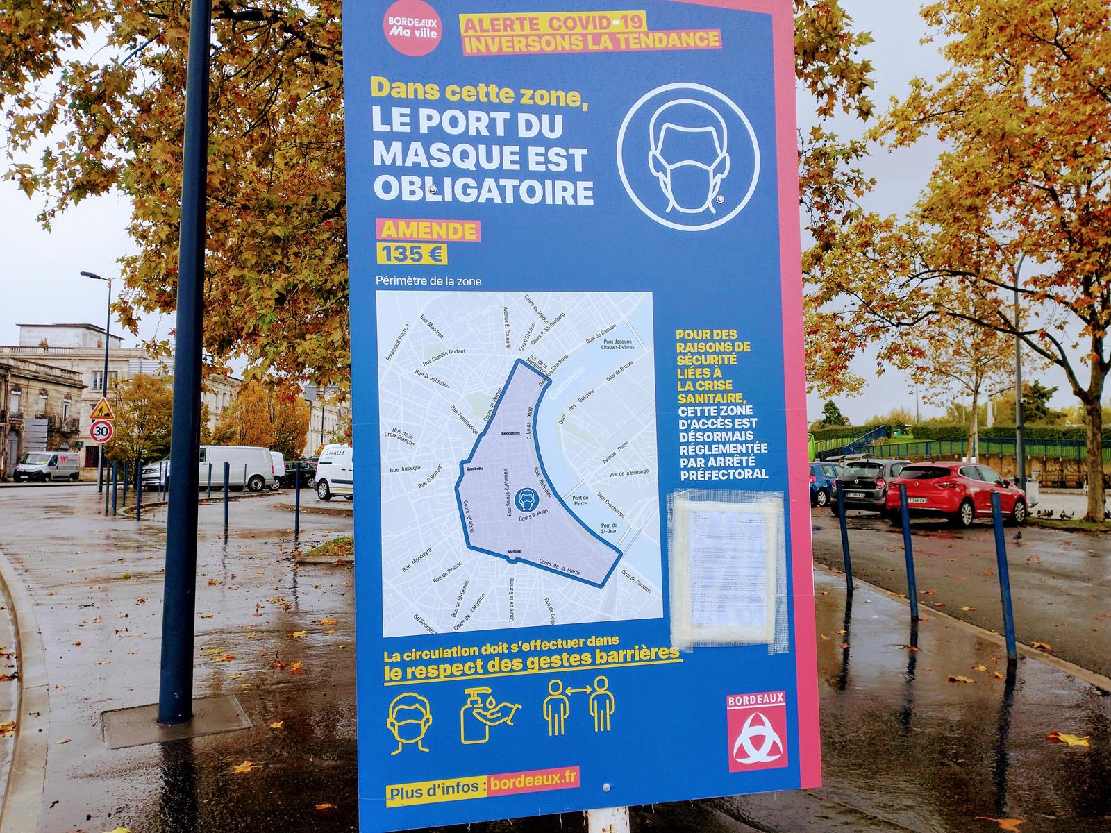 Masques obligatoires à Bordeaux (sauf à vélo)